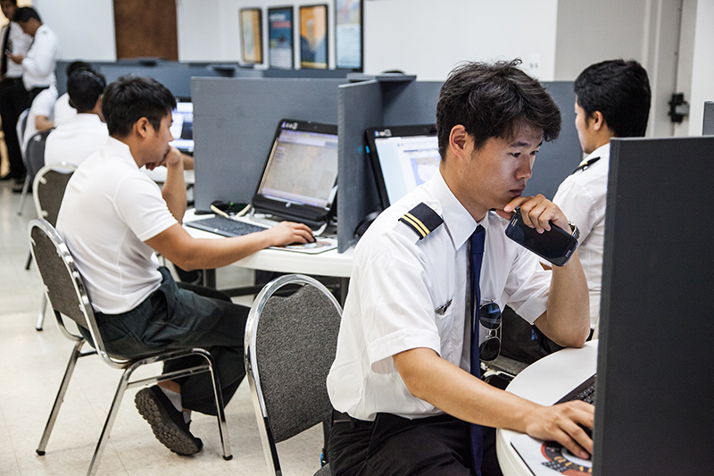student pilots in a technical class