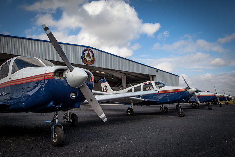 Lined up Delta Qualiflight planes